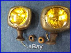 50s Vintage pair of US Pioneer 45 Accessory Fog lights 6 volt (working) amber