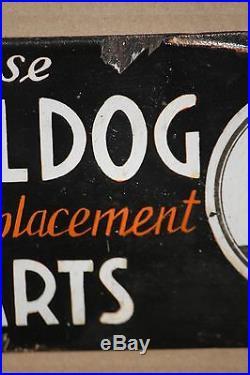 BULLDOG auto part sign vintage porcelain enamel car garage antique trade dog OLD
