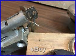 Lot Of Vintage Morris Mini Car Parts Lucas Lights 12 Piece Gas Handle Emblem Cap
