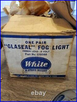 OEM 1940's 50's Car Truck Amber Fog Lights withBrackets Guide GLASEAL WHITE NOS