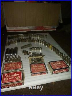 Original 1920 s- 1930s Vintage Tire valve caps tin boxes nos Ford gm chevy lot