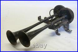 Original 1930's 1940's Car Truck Sparton Twin Trumpet Horns with Bracket Assembly