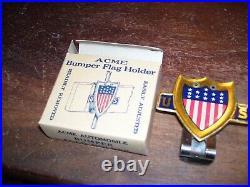 Original 1940s Vintage auto US Flag license plate topper nos Ford gm chevy dodge