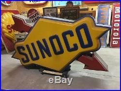 RARE ORIGINAL VinTaGe SUNOCO Lighted POLE SIGN GaS OiL Shop Car Parts OLD Garage