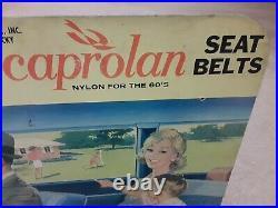 RARE Vintage Irvin seat belt car crash auto parts store display sign gas & oil