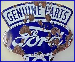Vintage Ford V8 Motor Car Genuine Parts Porcelain Enamel Sign Double Sided Ad#F