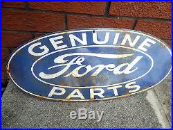 Vintage HEAVY ENAMEL Ford ADVERTISING SIGN Genuine Parts METAL GARAGE CAR OLD
