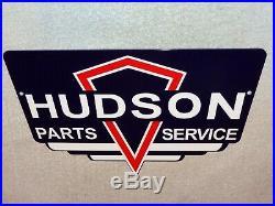 Vintage Hudson Parts & Service Diecut 12 Metal Car & Truck Gasoline & Oil Sign