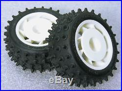 vintage original kyosho ultima 2wd um17 white rear wheel u0026 ot66 spike tire set