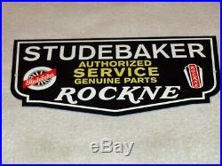 Vintage Studebaker Knute Rockne Car & Truck Parts 12 Metal Gasoline & Oil Sign