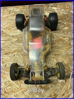 Vintage Team Associated RC10 Team Car Gold Pan parts or repair Sold As Is